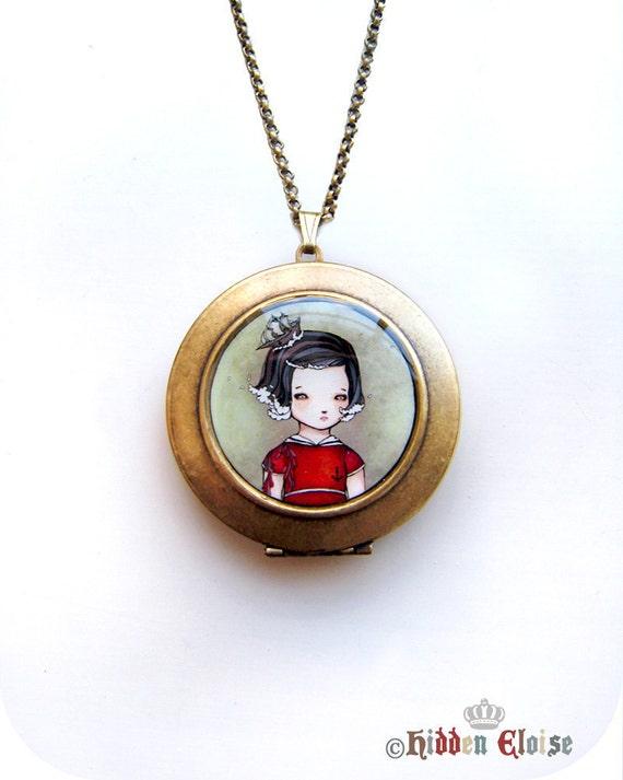 Nautical Locket, art locket, art pendant, girl locket, nautical necklace, artist locket, captain, sailor, ship necklace, illustrated K02