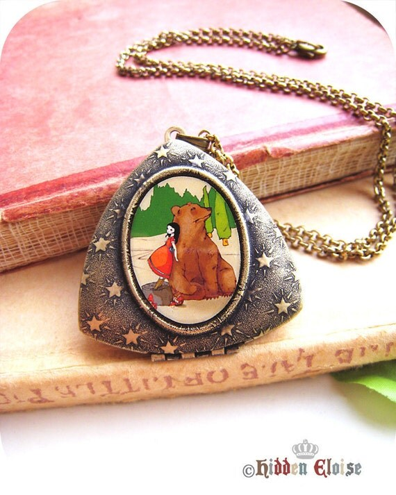 Fairytale Locket, bear and girl pendant, animal friendship art locket, romantic jewellery, cute necklace, he's fluffy and brown M02
