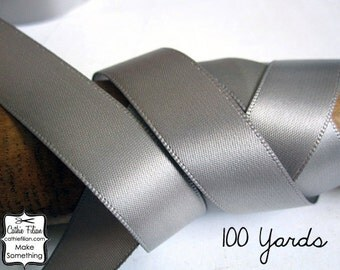 Silver Satin Ribbon - 100 Yards - 5/8 inch - Invitation Making, Wedding, Shower, Favors