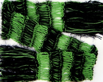 Green and Black Scarf for Wicked Witch of the West Elphie Elphaba Fan Accessories Knit Green Scarf with Black Knit Accessories