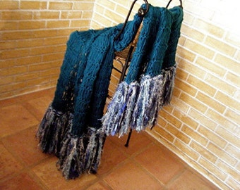 Knit Blanket Throw Afghan Blanket Throw Blanket, Fringed, Teal Blue and White or Custom Colors Blanket