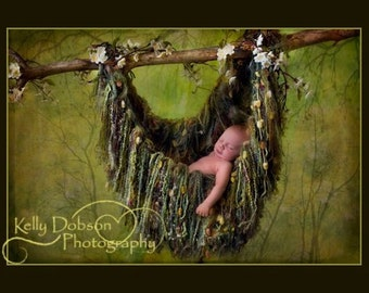 Fringe Hammock Baby Blanket Photo Prop, Green 'Verdant'or YOU CHOOSE COLOR