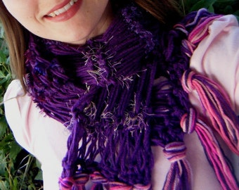 Violet Scarf Purple and Pink Berry Magenta Handknit Scarf Gift for Her