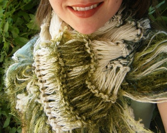 Moss Green Scarf with Irish Cream, Natural Colored Hand Knit with Fringe. Thick, Warm, Cream and Green Striped Scarf Winter Fashion