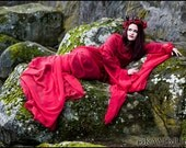 Enchanted Evermore... Red Chiffon Dracula Bride Gown by Kambriel