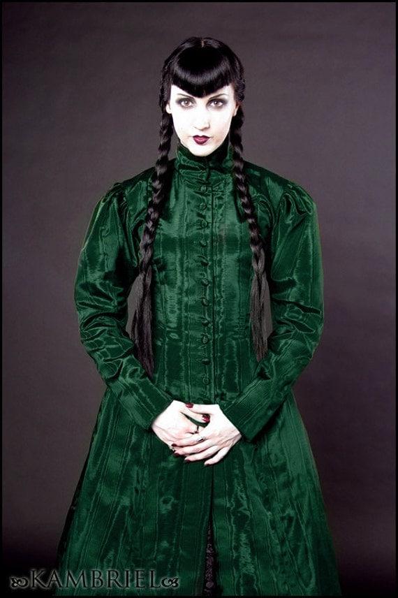 Absinthe Moiré - Gothic Edwardian Isabella Coatdress by Kambriel - Ready to Ship Designer Sample!