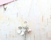 Tiny Blossom Charm Cluster Necklace 18 inch Recycled Sterling Silver