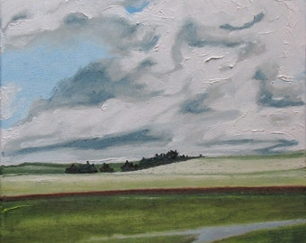 """Art Original Landscape Oil Painting Impressionist Cloud Sky Country Field Eastern Townships Appalachian Quebec Canada Fournier """"The Red Line"""