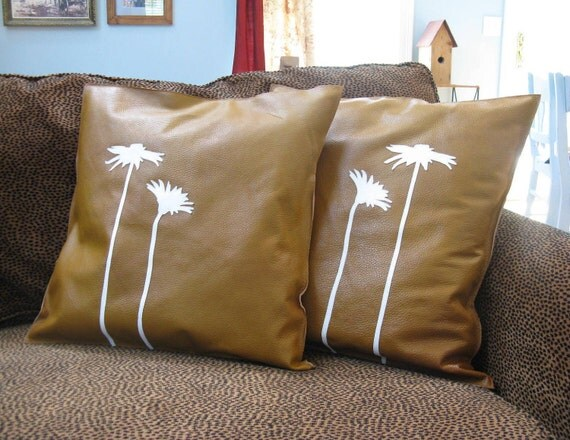 Decorative Square Leather Pillows with Applique