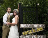 Wedding Sign. Rustic Wedding. Reception Signs. Name And Date Sign. PHOTO PROPS. Yellow Bridal Colors. Road Signs. Arrow Sign. Wood Board