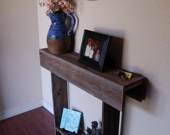 Farmhouse Console Table Small Table Recycled Wood Furniture Wall Table  36x7x30 Apartment Or Entry Way Table