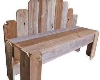 Recycled Wood Bench. What's Country Now. OVER 4 Foot Long. Cedar Fan Back Bench. Eco Furniture. Rustic Furniture
