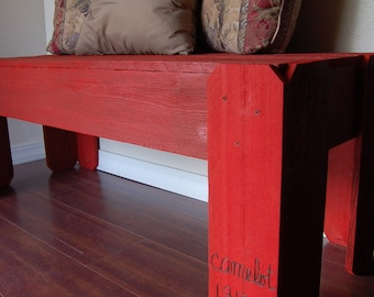 Wood Bench Red Anniversary Bench Romantic Customized with Name and Date Reclaimed Wood Bench Garden Bench Entry Bench Cherry Red Garden
