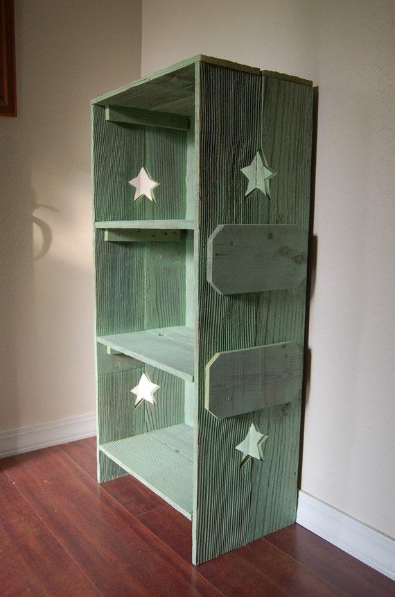 Wood Bookcase. CHOOSE COLOR & Side CUTOUTS Shelf Rustic Childs Room Furniture Wood Furniture Kids Decor Green Wood Shelf Star Trueconnection