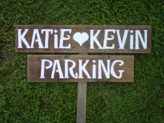Parking Wedding Sign Rustic Wood Signage Personalized Signage LARGE Hand Painted Reclaimed Wood. Rustic Weddings Directional Road Signs