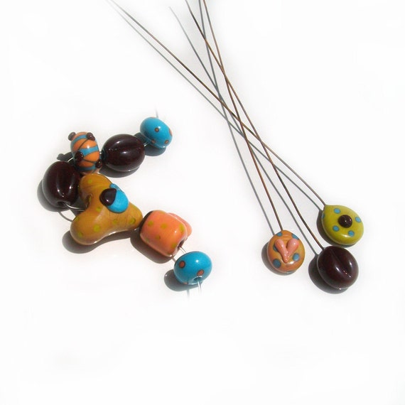 Coffee Bean Mixxer- handmade lampwork bead set of coffee beans rounds heart coffee mug and sculptural glass headpins
