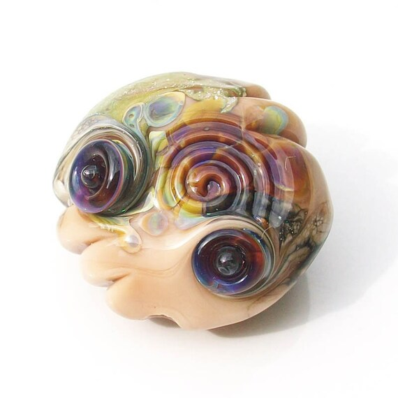 Ancient Pebble-Ginger- Handmade lampwork glass focal bead-organic style taupe with rainbow raku and silver