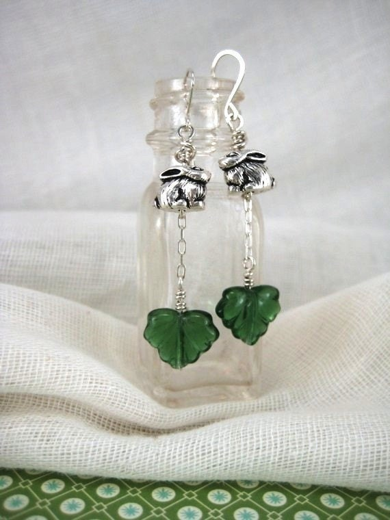 Hiding in the Ivy.  Bunny and ivy glass dangle earrings