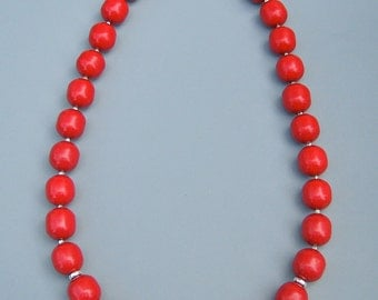 Red Coral Sterling Silver Necklace 111042