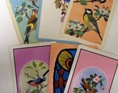 Bird playing cards Ephemera scrapbooking collage supply 6 Vintage bird playing cards for altered art projects