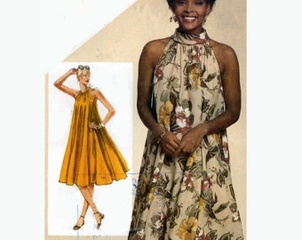 80s Bridesmaid halter swing dress Simplicity 9901 vintage sewing pattern Size 10 to 12 UNCUT
