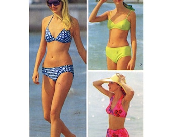 Simplicity 5576 70s vintage bikini swimsuit  bathing suit sewing pattern Sz 12 to 14