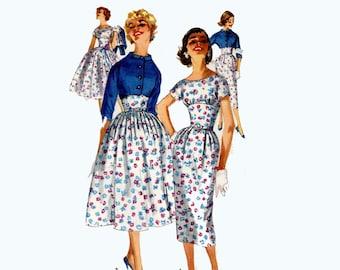 1950s cocktail dress bolero jacket vintage bridesmaid sewing pattern Simplicity 1990 Bust 32