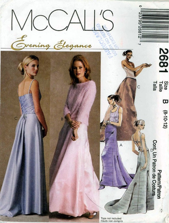 Brides Long skirts with train Grad fashion Evening wear sewing pattern McCalls 2681 Sz 10 to 14 Uncut