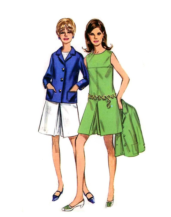 Butterick 7528 Mod pant dress and jacket sewing pattern Bust 36