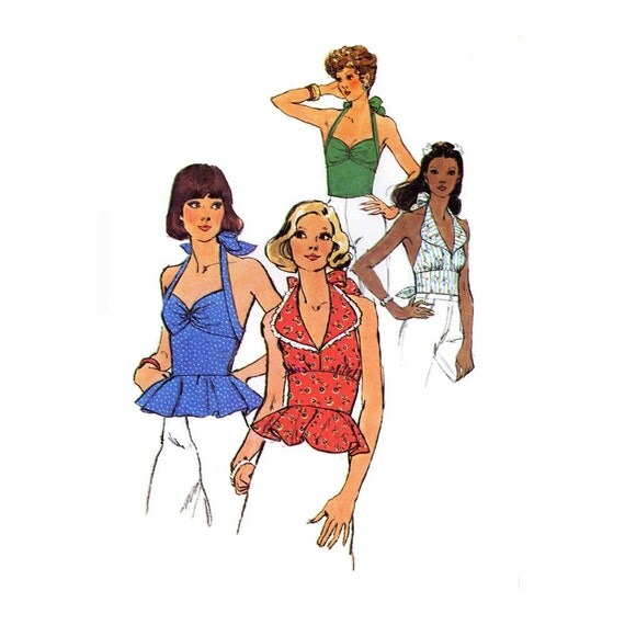 70s Simplicity 6357 halter top sewing pattern size 8