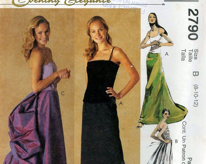 Brides bustle skirt Evening Elegance wear sewing pattern Grads McCalls 2790 Uncut size 8  to 12