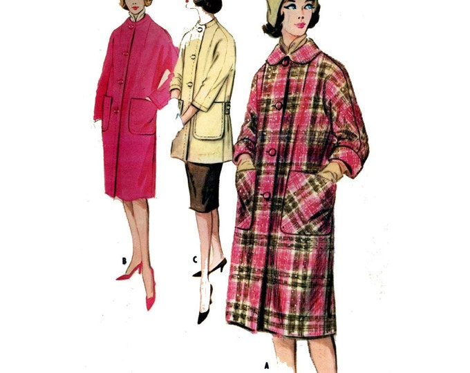 Mod 60s retro winter coat vintage sewing pattern McCalls 5747 Bust 34