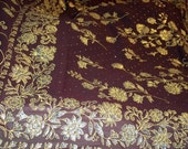 S 11 Sari Veil Bollywood Belly Dance Goddess Fabric Rich Deep Chocolate Maroon Floral 5 2/3 Yards