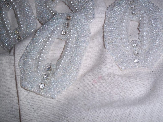 "WA 1 Rhinestone Pearls and Iridescent Bead Embellished Applique Medallions 3 1/2"" Wide"