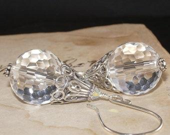 Quartz Earrings, White, Rock, Sterling Silver, Bali, Large, Chunky, Handmade Jewelry, DDurda