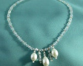 Wedding Bridal Necklace Triple Rare Freshwater Large Pearl Pendant with Swarovski Crystal Necklace