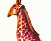 Raspberry- Pink Giraffe Art
