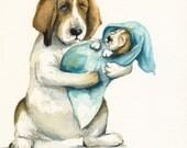 Norma's New Baby- nursey art, basset hound