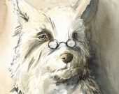 dog art-Paul- large archival print- terrier, men, bookish