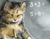 Math - Cat Cards- 5 blank cards, cat lover, student, teacher