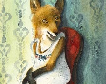 Fox art - Mademoiselle - archival print