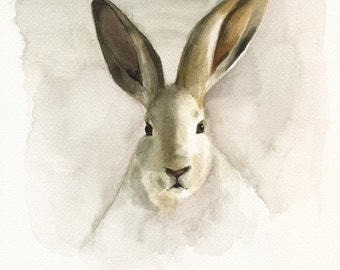 "Rabbit Watercolor-""Blackberry"" 11 x 14-nature-neutrals, cream, woodland,shabby chic, french country, nursery decor"