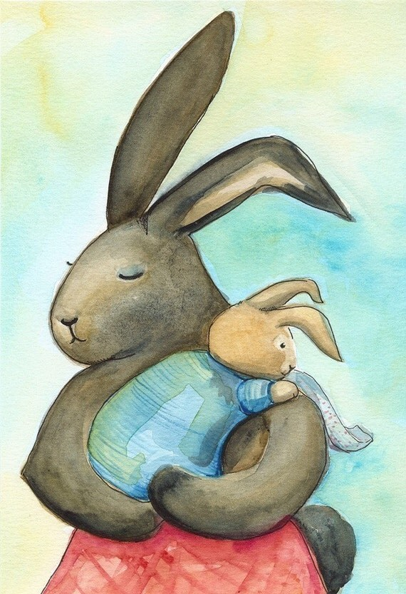 Little Burp, baby and  mother archival print,nursery, children, art