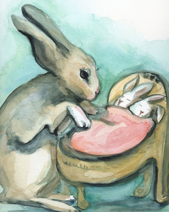 New Mama-large print- Rabbit and Babies Watercolor archival print, nursery, baby, children, decor