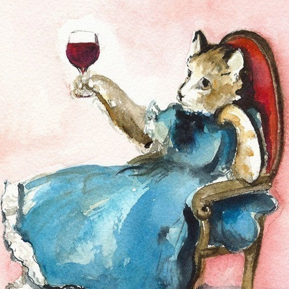 "Cat art, wine- ""A Hard Day"" -cat watercolor print, hostess, entertaining, wine lover"