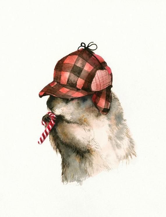 woodchuck art, woodchuck christmas, Sweet Tooth Charlie - Archival print