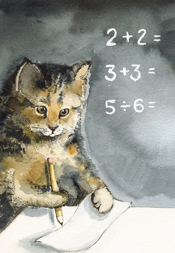 Math - Cat Cards- 5 blank cards, cat lover, student, teacher