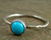 Bright Blue Sleeping Beauty Turquoise Stacking Ring Hammered Sterling Silver Turquoise Ring Southwestern Fashion