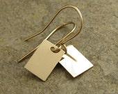 Small Gold Earrings Rectangles Geometric Jewelry, Small Dangle Earrings Small Gold Filled Earring Modern Minimalist