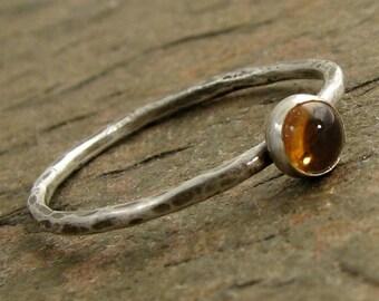 Golden Yellow Citrine Ring, Hammered Silver Stacking Ring November Birthstone Ring Citrine Stacking Ring Organikx